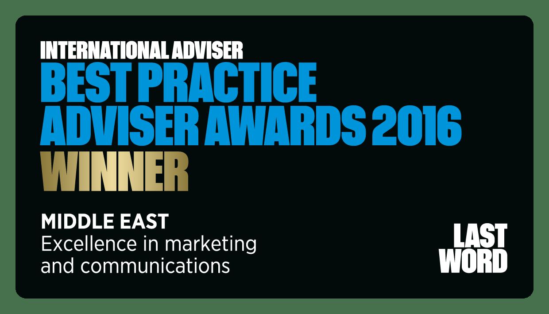 Best Practice Adviser Awards 2016 Winner - Financial Planning Dubai UAE